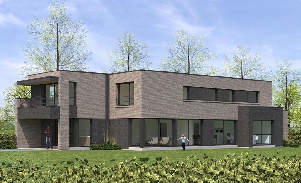 toiture terrasse maison cubique en briques nord