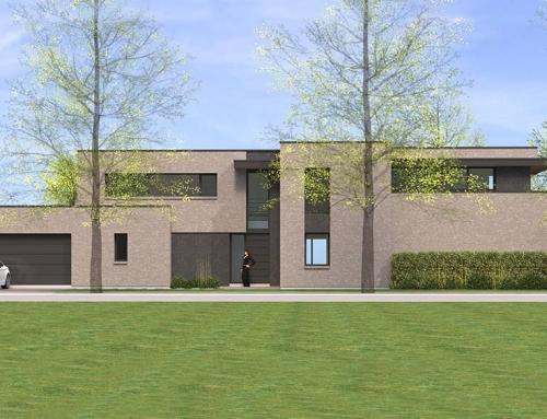 Architecture cubique en briques à Croix