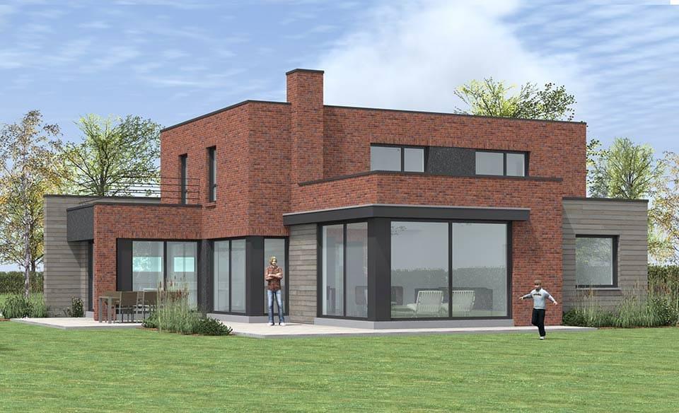 Les maisons cubiques en briques de pouwels ab architecteur for Maison cubique contemporaine
