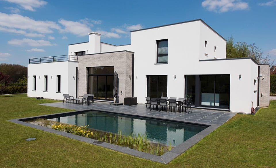 Maison d 39 architecte r alis e par pouwels ab architecte for Maison contemporaine cubique