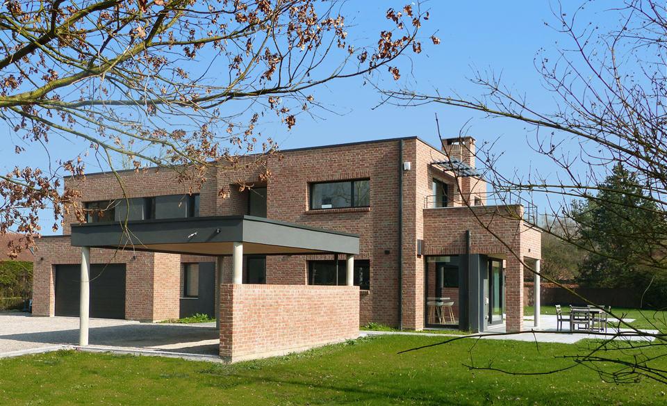 maison cubique en briques r alis e dans le nord par pouwels ab. Black Bedroom Furniture Sets. Home Design Ideas