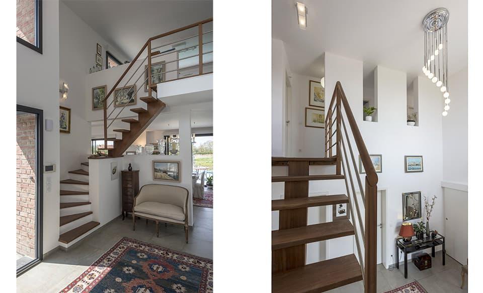 Hall d'entrée. Escalier béton et bois.