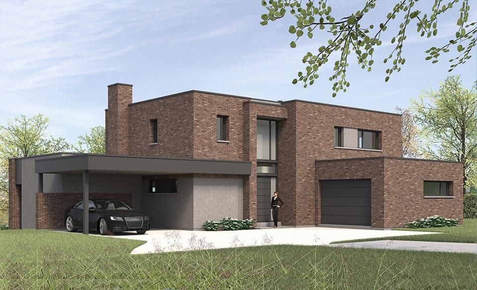 maison cubique en briques ultra contemporaine