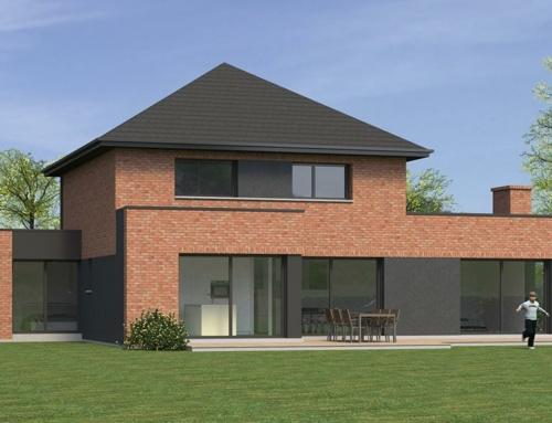 Maison à toiture 4 pans et toit plat