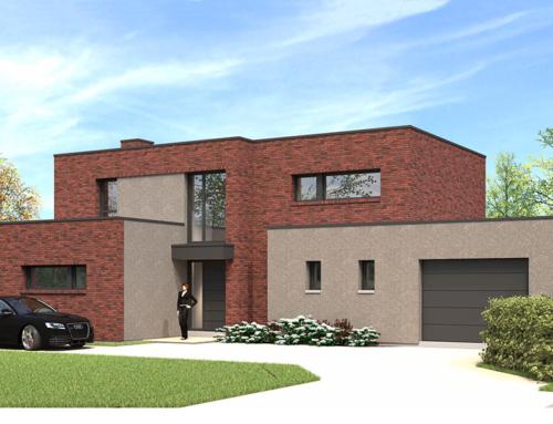 Réalisation d'une maison cubique en briques rouge