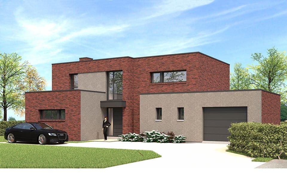 constructeur maison cubique en briques rouge dans le Nord (59)