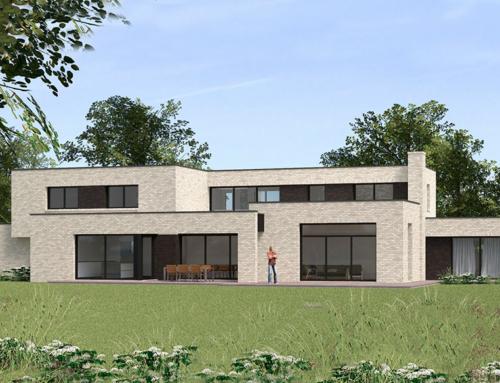 Maison cubique en briques claires à Tressin